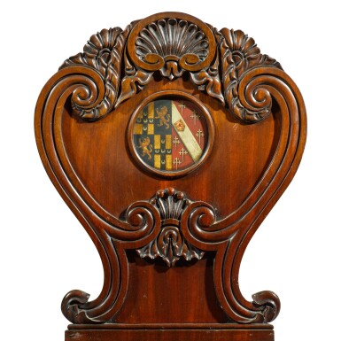 View 2. Thumbnail of Lot 71. A set of six George IV carved mahogany hall chairs, circa 1822, in the manner of Gillows.