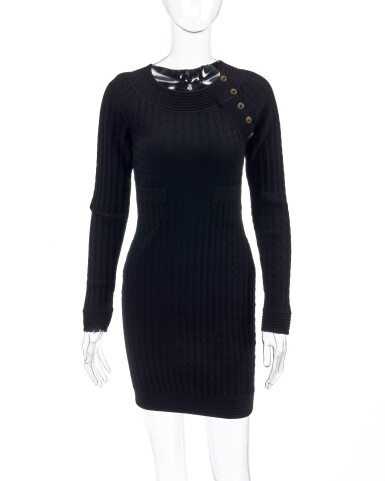 View 1. Thumbnail of Lot 157. Black wool-blend mini dress.
