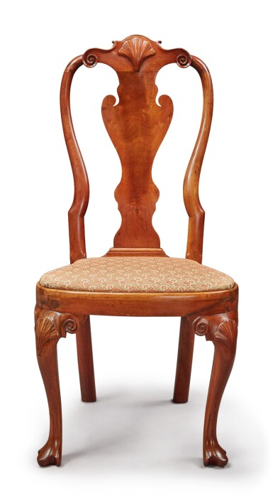 Fine Queen Anne Carved and Figured Walnut Rounded-Stile Compass-Seat Side Chair, possibly by the Henry Clifton (c. 1725-1771) and Thomas Carteret shop, Philadelphia, circa 1750