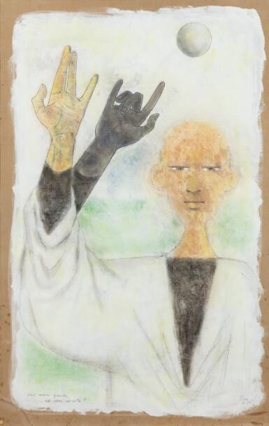 """View 1. Thumbnail of Lot 32. JEAN COCTEAU. Astrologue. Une main gauche est elle adroite ? 1954.Technique mixte, signée """"Jean"""", 1954, titrée par Cocteau."""