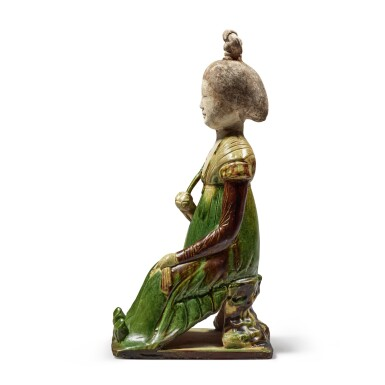View 4. Thumbnail of Lot 179. A sancai-glazed pottery figure of a seated court lady, Tang dynasty | 唐 三彩仕女坐俑.