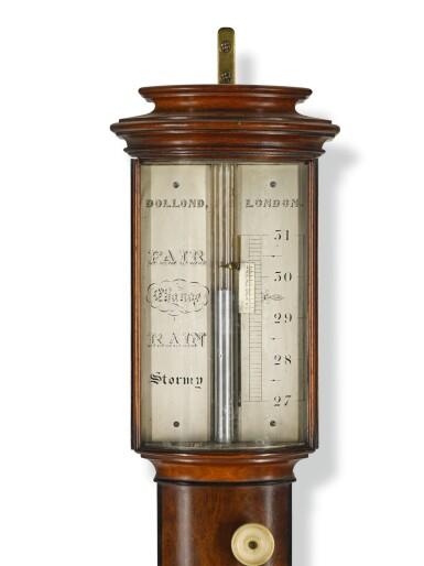 View 2. Thumbnail of Lot 101. A mahogany bow-front stick barometer, Dolland, London, circa 1850.
