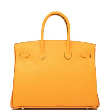 View 4. Thumbnail of Lot 15. Hermès Horseshoe Stamped (HSS) Bi-color Jaune D'Or and Sanguine Birkin 35cm of Epsom Leather with Palladium Hardware.