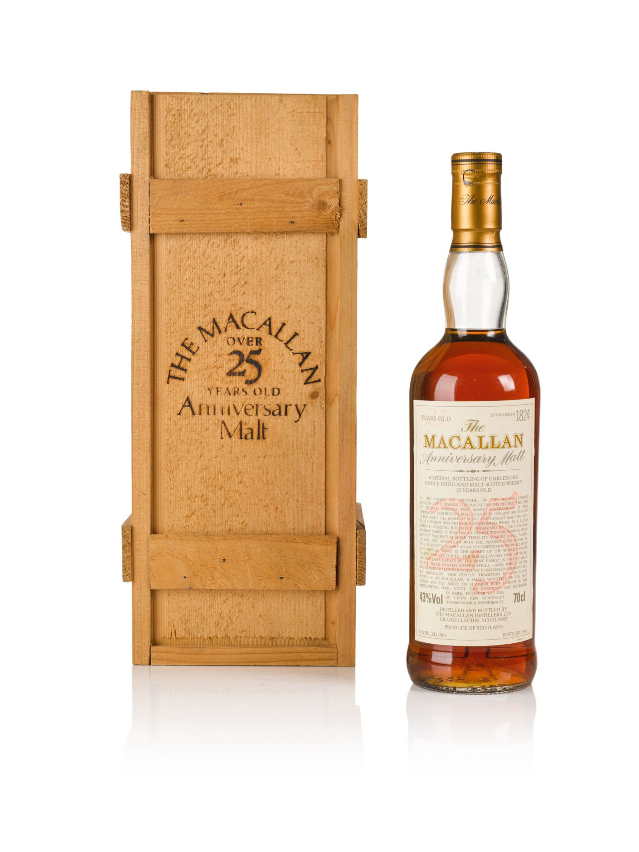 View full screen - View 1 of Lot 3. The Macallan 25 Year Old Anniversary Malt 43.0 abv 1968 .