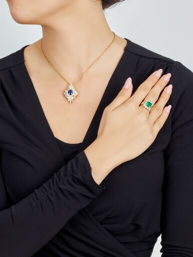 View 4. Thumbnail of Lot 9189.  EMERALD AND DIAMOND RING; AND SAPPHIRE AND DIAMOND PENDENT NECKLACE   祖母綠 配 鑽石 戒指; 及 藍寶石 配 鑽石 項鏈.