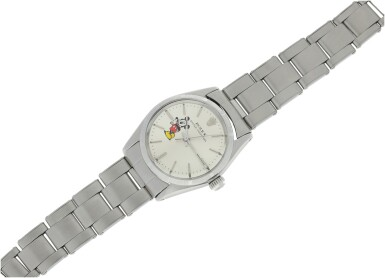 View 4. Thumbnail of Lot 95. ROLEX   REFERENCE 6548 OYSTER PERPETUAL 'MICKEY MOUSE'  A STAINLESS STEEL AUTOMATIC WRISTWATCH WITH BRACELET, CIRCA 1964.