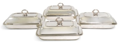 A SET OF FOUR GEORGE III SILVER ENTRÉE DISHES AND COVERS, WILLIAM BENNETT, LONDON, 1808