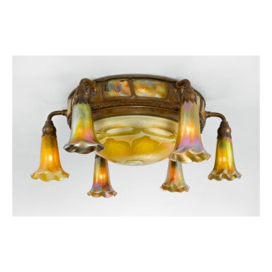 "TIFFANY STUDIOS | SIX-LIGHT ""LILY"" AND ""TURTLE-BACK"" CEILING LIGHT"