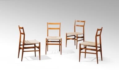 View 2. Thumbnail of Lot 2. Four Superleggera chairs, model no. 699, designed in 1957     .