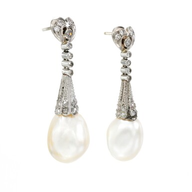 View 2. Thumbnail of Lot 53. Pair of natural pearl and diamond earrings, early 20th century composite.