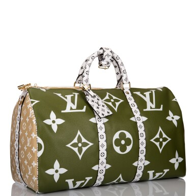 View 2. Thumbnail of Lot 121. Louis Vuitton Khaki Green Keepall Bandoulière 50 of Giant Monogram Canvas with Polished Brass Hardware .