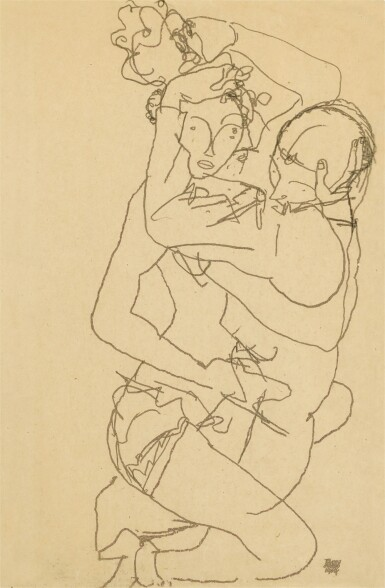 View 1. Thumbnail of Lot 57. Paar Im Umarmung (Couple embracing).
