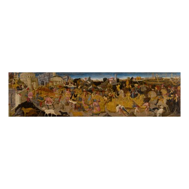 View 1. Thumbnail of Lot 114. APOLLONIO DI GIOVANNI | THE TRIUMPH OF MARCUS FURIUS CAMILLUS, A CASSONE PANEL.