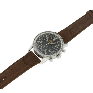 View 6. Thumbnail of Lot 81. NO REFERENCE AOPA NAVITIMER A RARE AND EARLY STAINLESS STEEL CHRONOGRAPH WRISTWATCH, MADE IN 1955.