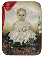 ATTRIBUTED TO MRS. MOSES B. RUSSELL (CLARISSA PETERS) |  MINIATURE PORTRAIT OF A GIRL IN A WHITE DRESS WITH HER CAT AND DOG