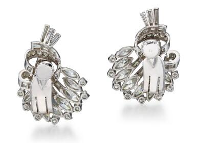 View 3. Thumbnail of Lot 1025. PAIR OF DIAMOND EAR CLIPS, 1950s  | 鑽石耳環一對, 1950年代.