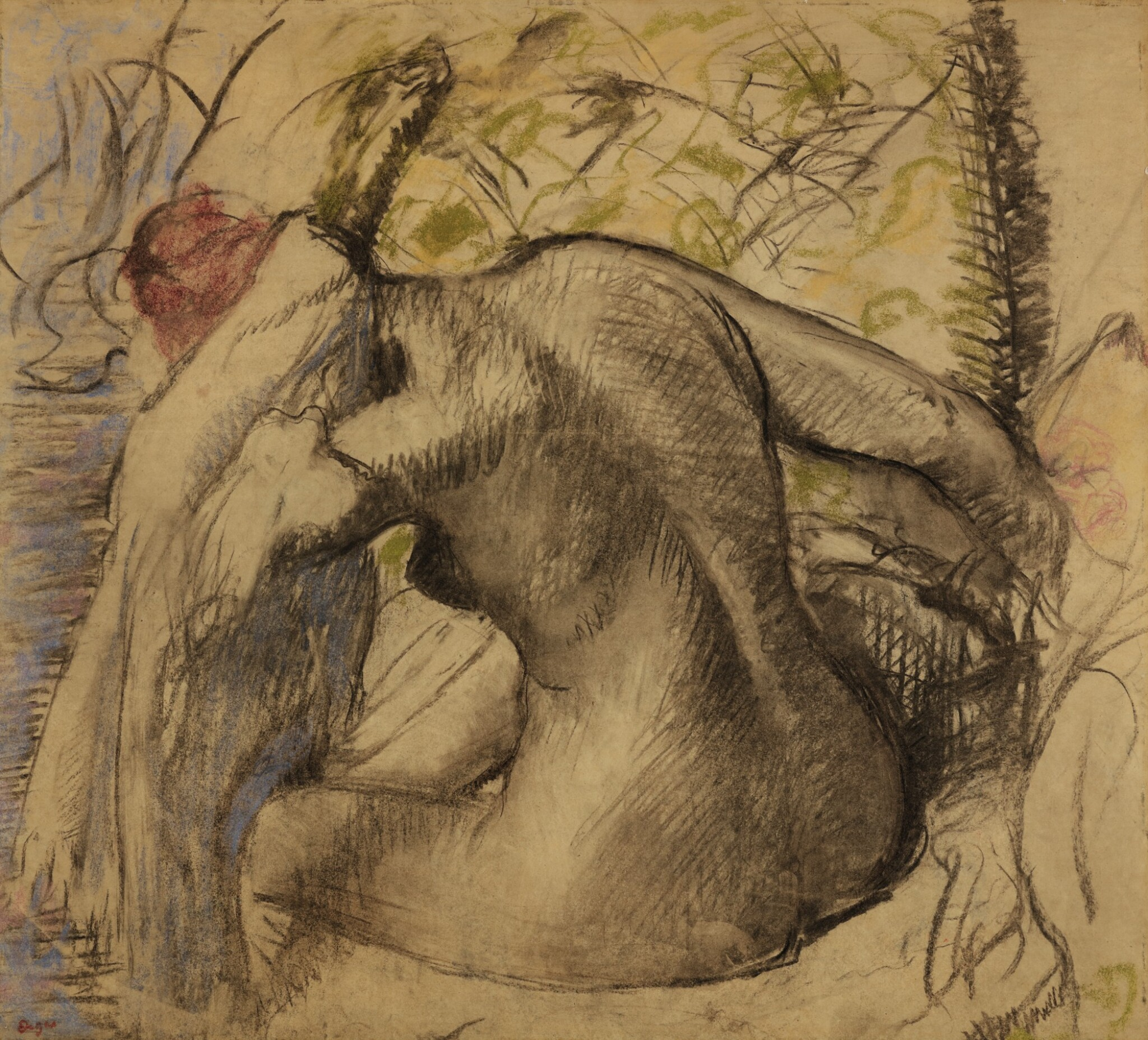 View full screen - View 1 of Lot 122. EDGAR DEGAS | FEMME NUE ASSISE, S'ESSUYANT LES CHEVEUX.