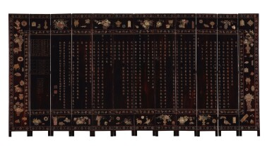 View 2. Thumbnail of Lot 730. AN INSCRIBED TWELVE-PANEL COROMANDEL LACQUERED SCREEN, QING DYNASTY, KANGXI PERIOD.