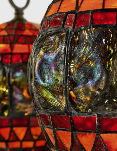 """View 3. Thumbnail of Lot 410. TIFFANY STUDIOS   A RARE AND EARLY PAIR OF """"TURTLE-BACK"""" LANTERNS."""