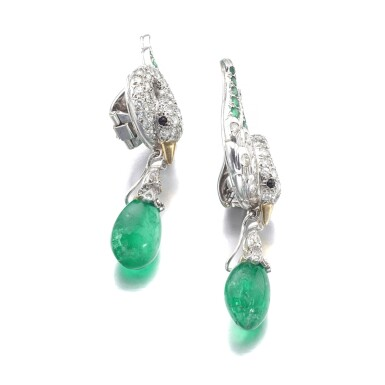 View 2. Thumbnail of Lot 627. René Boivin | Pair of emerald and diamond ear clips, circa 1955 | René Boivin | 祖母綠配鑽石耳環一對,約1955年.