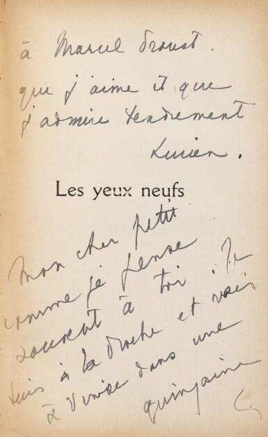 View 2. Thumbnail of Lot 300. Les Yeux neufs. 1921. 1/2 ex. connus avec envois de L. Daudet à Proust. Rel. Jean de Gonet.