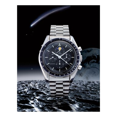 OMEGA   SPEEDMASTER REF 345.0809 'RED DOT SPEEDYMOON', A STAINLESS STEEL CHRONOGRAPH WRISTWATCH WITH MOON PHASES AND BRACELET, CIRCA 1986