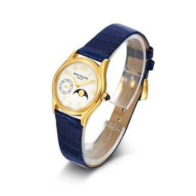 View 2. Thumbnail of Lot 702. REFERENCE 4856 YELLOW GOLD WRISTWATCH WITH MOON-PHASES MADE IN 2002.