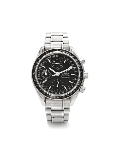 OMEGA | REF 175.0084 SPEEDMASTER, A STAINLESS STEEL AUTOMATIC TRIPLE CALENDAR CHRONOGRAPH WRISTWATCH WITH BRACELET CIRCA 1998