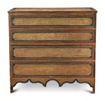 FINE FEDERAL GRAIN-PAINTED AND INCISED-PINWHEEL-DECORATED PINE AND MAPLE CHEST OF DRAWERS, VERMONT, CIRCA 1820