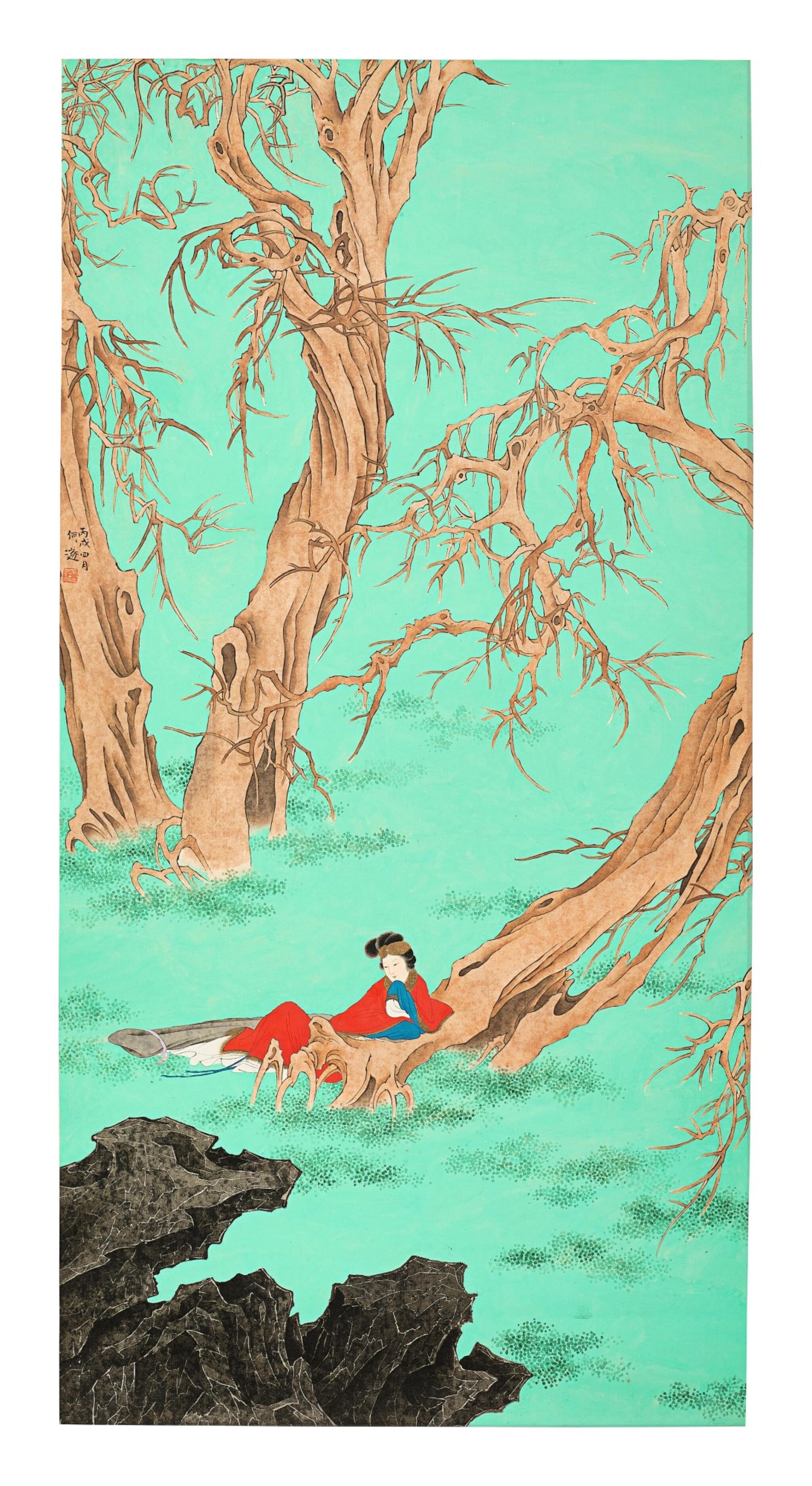 HE SUI (1888-1969) PRINCESS SHOUYANG | 何遂 《壽陽公主》 設色紙本 立軸