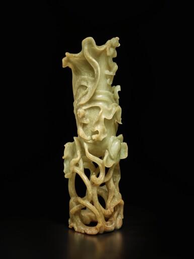 View 4. Thumbnail of Lot 54. A beige jade 'lotus leaf' vase, 17th / 18th century | 十七 / 十八世紀 玉雕荷葉形花插.