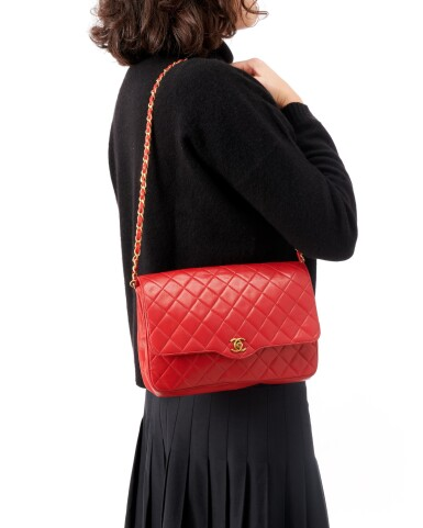 View 5. Thumbnail of Lot 69. Red quilted leather and gold-tone metal chain shoulder bag.