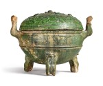 A GREEN-GLAZED POTTERY DING AND COVER, HAN DYNASTY