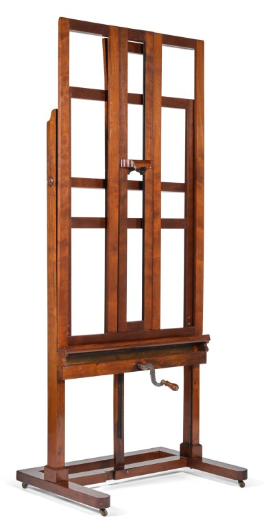 A FRENCH MAHOGANY ADJUSTABLE EASEL MID-19TH CENTURY