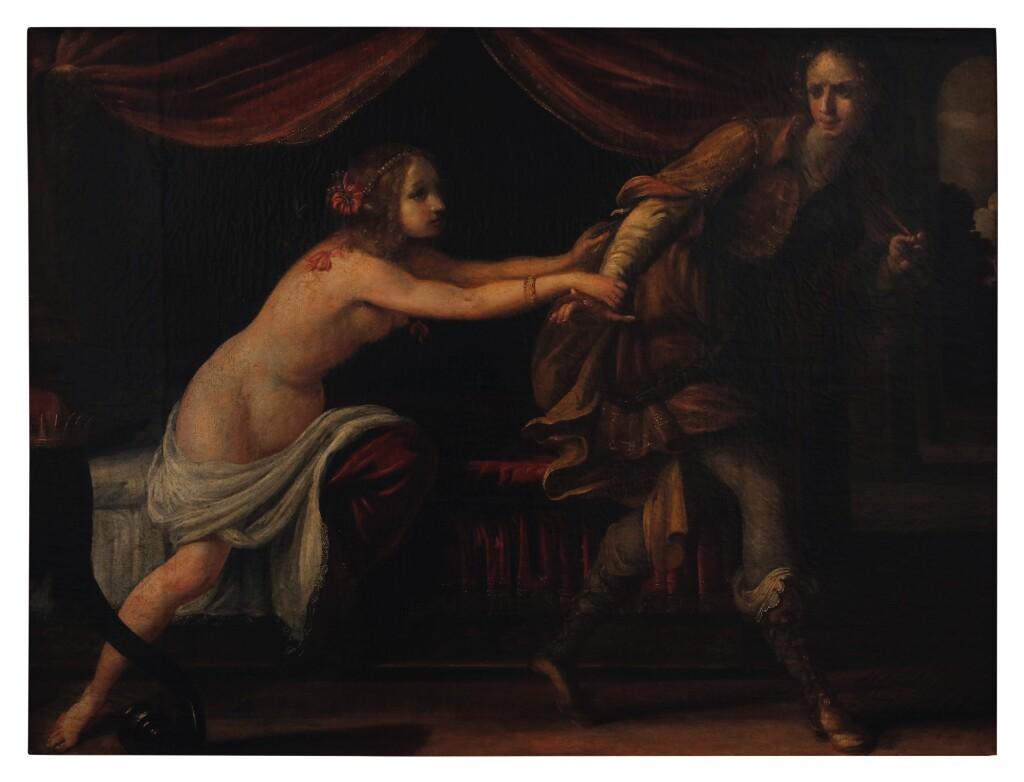 ATTRIBUTED TO SIMONE PIGNONI   JOSEPH AND POTIPHAR'S WIFE