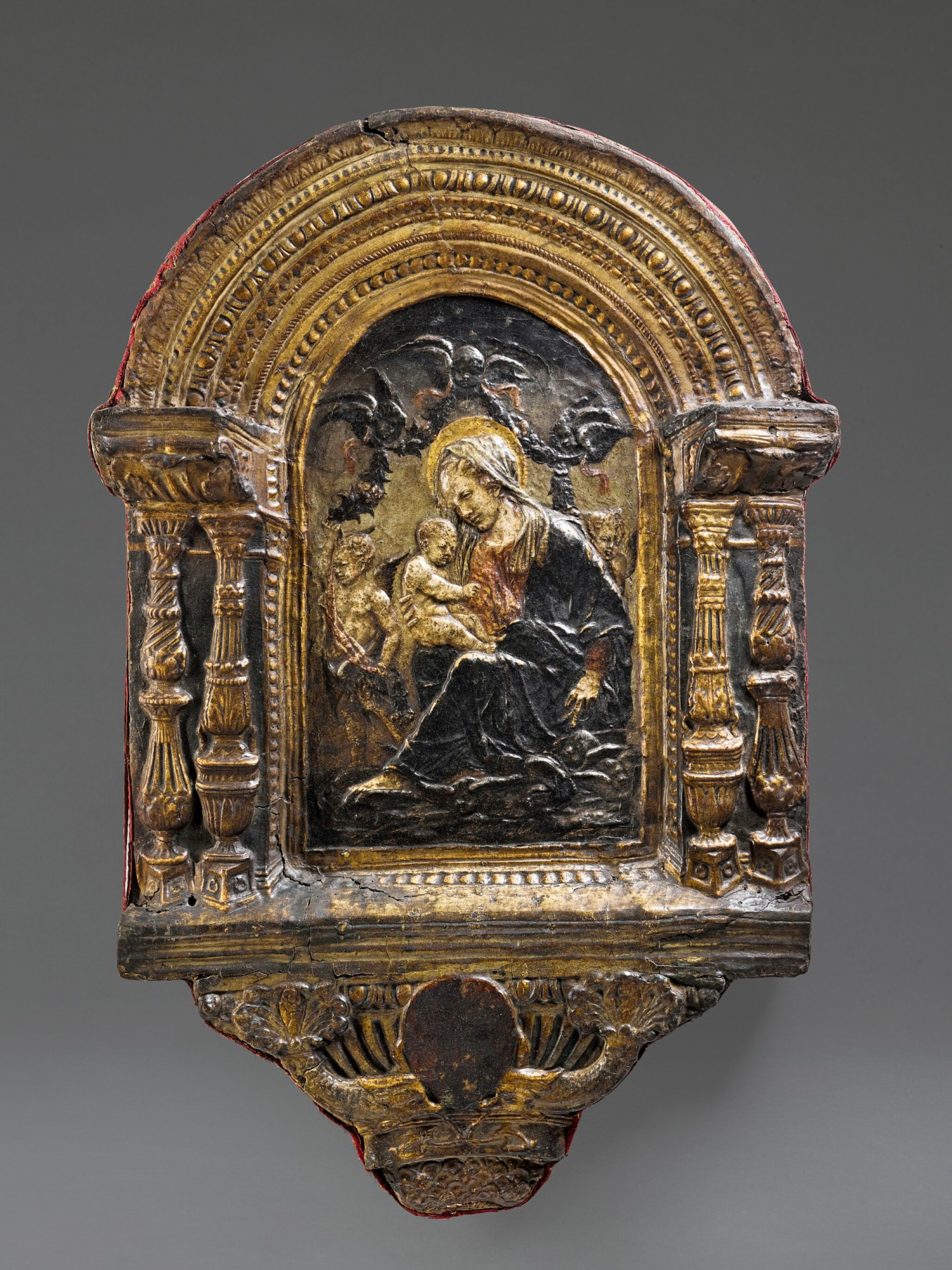 Italian, Florence or Siena, circa 1470-1480 | Relief with the Madonna and Child among Clouds