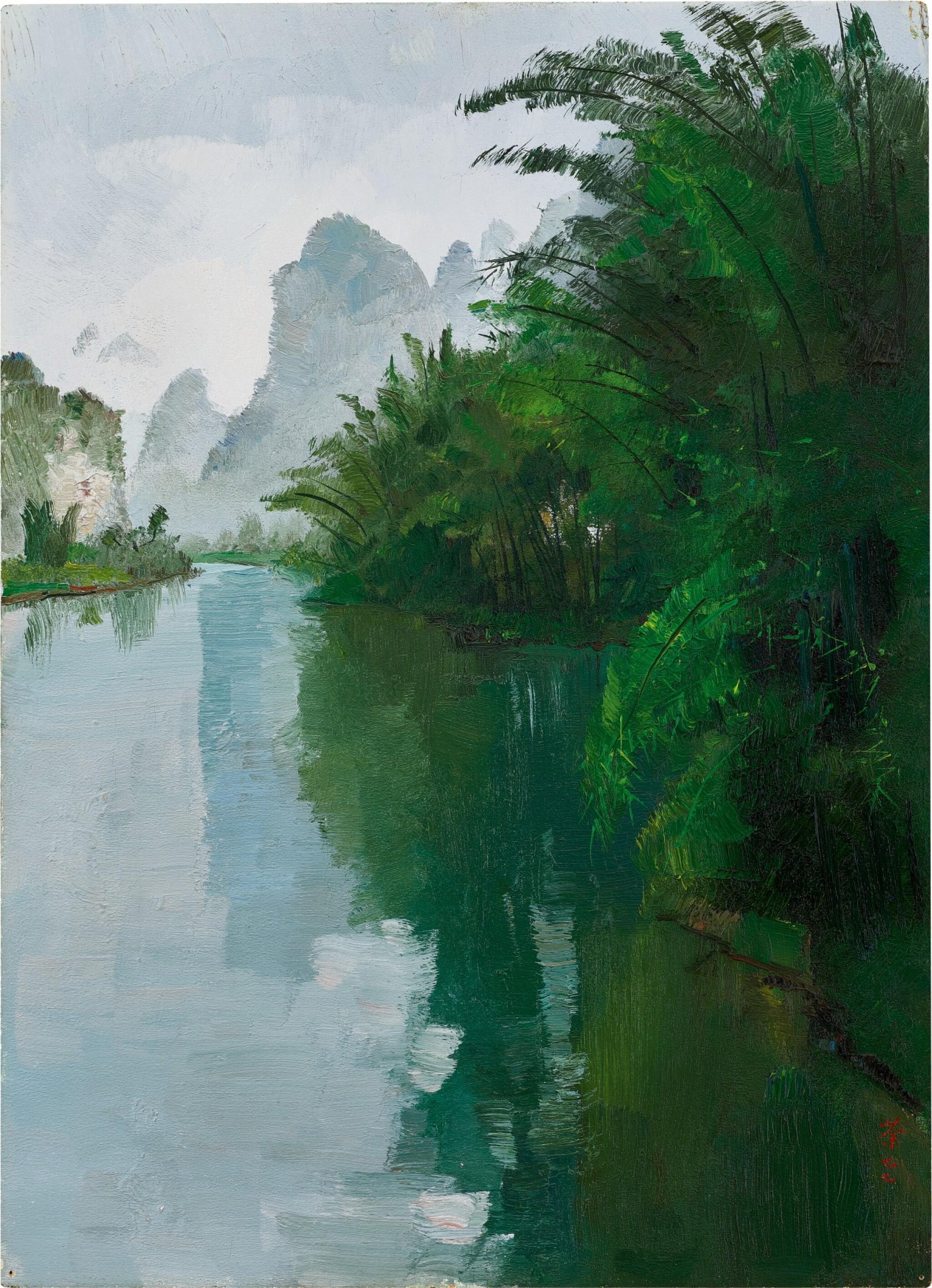 View full screen - View 1 of Lot 1015. Wu Guanzhong 吳冠中 | Bamboo Forest of the Lijiang River 灕江竹林.