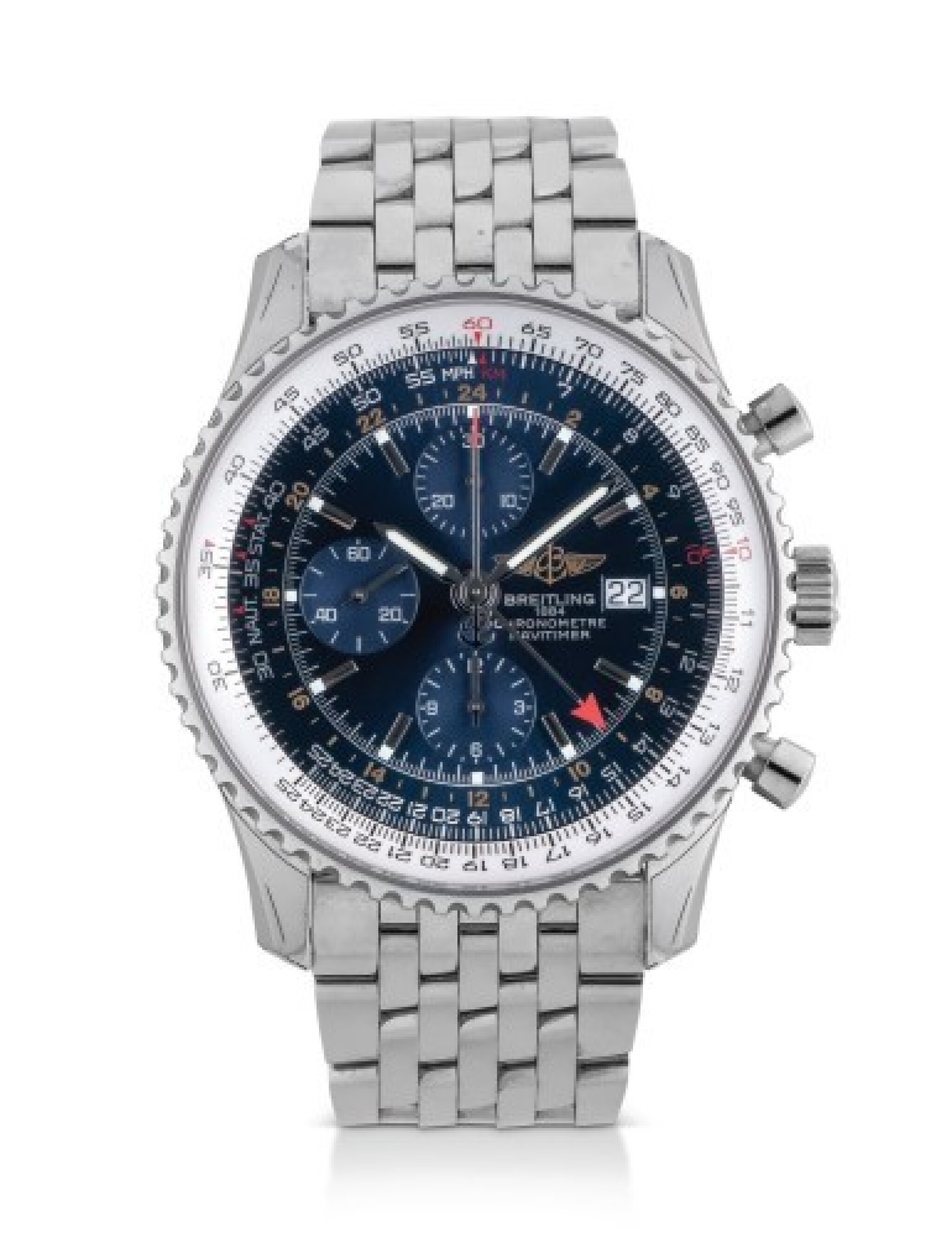 View full screen - View 1 of Lot 11. BREITLING | NAVITIMER, REFERENCE A24322, STAINLESS STEEL DUAL-TIME CHRONOGRAPH WRISTWATCH WITH DATE AND BRACELET, CIRCA 2014.