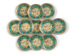 A SET OF TWELVE MINTONS 'CLOISONNE' PLATES, 1879-1881