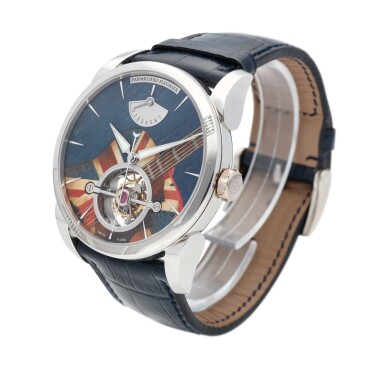 View 2. Thumbnail of Lot 22. Tonda Woodrock Gibson. Ref. MJF London Unique platinum tourbillon wristwatch with marquetry dial and power reserve indication Circa 2012.
