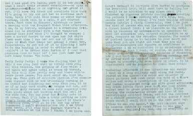 """View 2. Thumbnail of Lot 13. Sylvia Plath   Typed letter signed, to Ted Hughes, """"we will burn love to death all our long lives"""", 10 October 1956."""