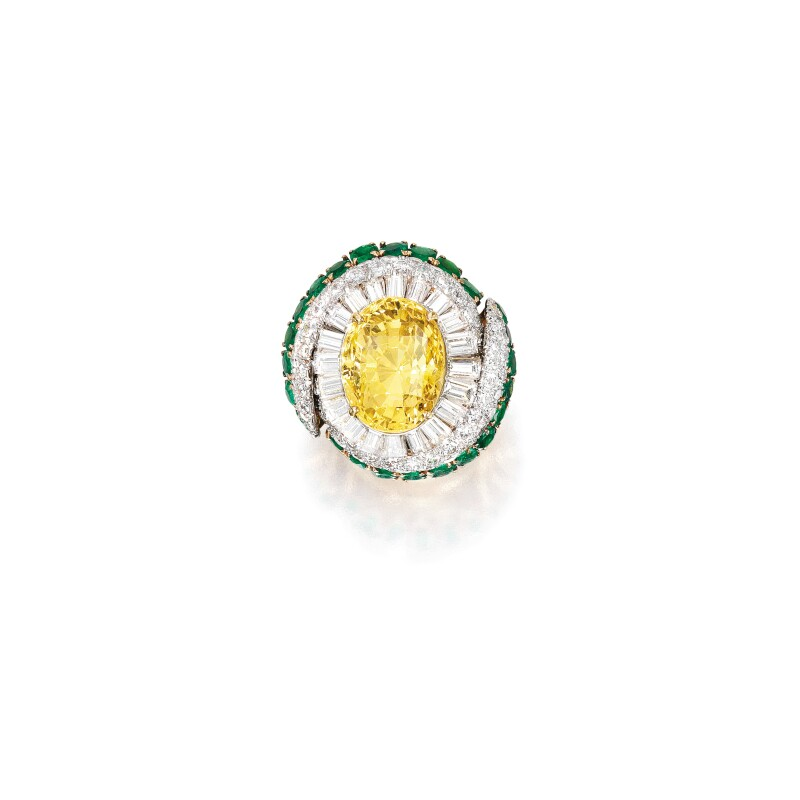 Yellow Sapphire, Diamond and Emerald Ring