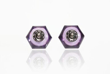 PAIR OF AMETHYST AND DIAMOND EARRINGS, MICHELE DELLA VALLE