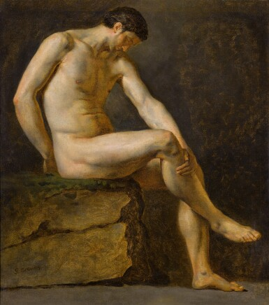 View 1. Thumbnail of Lot 117. A seated male nude.