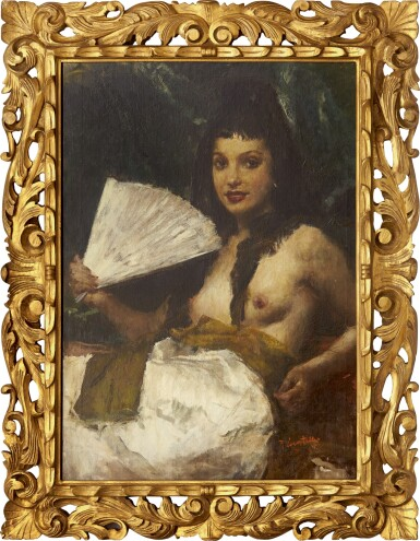 View 2. Thumbnail of Lot 296. ROMUALDO FREDERICO LOCATELLI 羅莫爾多·羅格泰利  | NUDE WITH A FAN (LA MADRILEÑA/ LADY FROM MADRID) 紈扇裸體 (馬德里的女士).