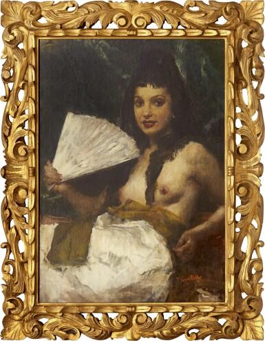 View 2. Thumbnail of Lot 296. ROMUALDO FREDERICO LOCATELLI 羅莫爾多·羅格泰利  | NUDE WITH A FAN (LA MADRILEÑA/ LADY FROM MADRID) 紈扇裸體 (馬德里的女士).