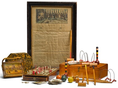 A REGENCY BOXWOOD AND EBONY STRUNG IVORY INLAID ROSEWOOD PARQUETRY GAMES COMPENDIUM, CIRCA 1840