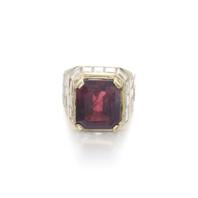 View 1. Thumbnail of Lot 1203. Ruby and diamond ring.