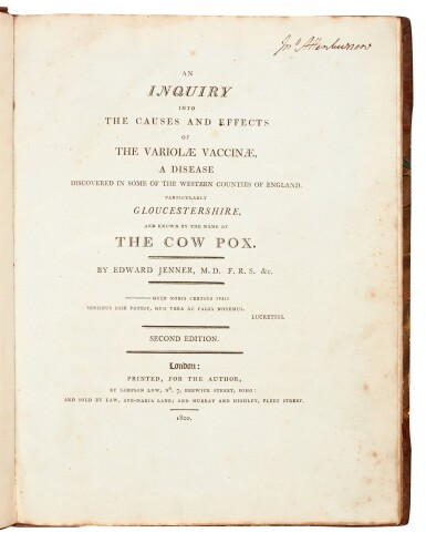 View 1. Thumbnail of Lot 28. Jenner   An inquiry into the causes and effects of the variolae vaccinae, London, 1800, half calf.