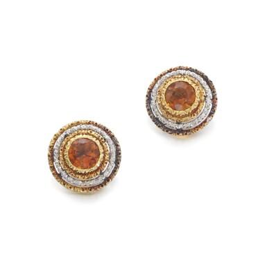 View 1. Thumbnail of Lot 1242. Pair of citrine earrings.